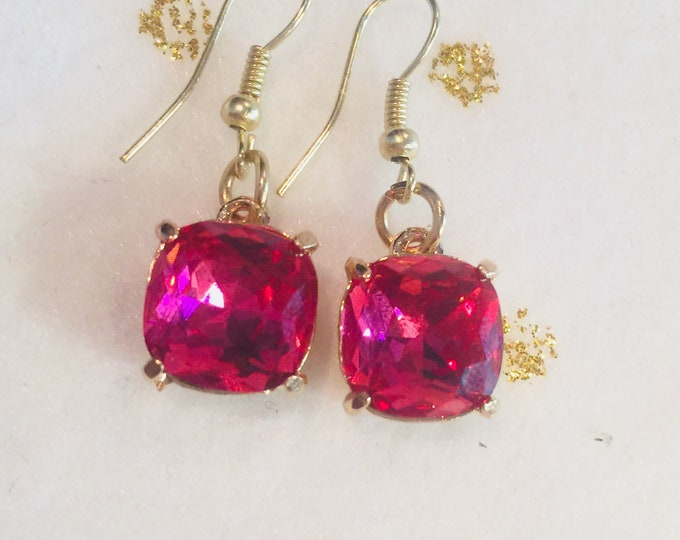 Pink Square Charm Earrings