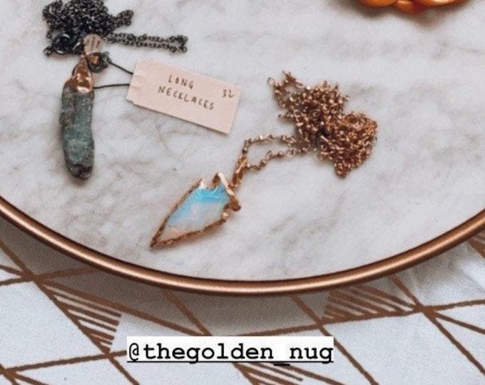 Crystal and Opal Glass Arrowhead Charm Necklaces