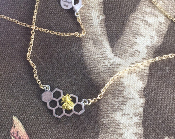 Honeycomb & Bee Gold and Silver Necklace