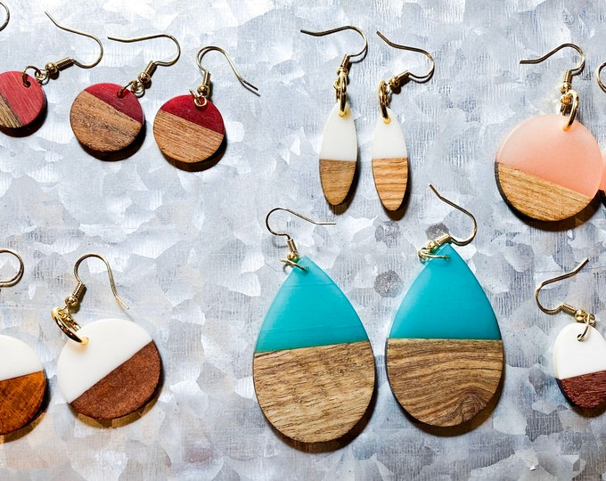 Colorful Wood And Resin Earrings