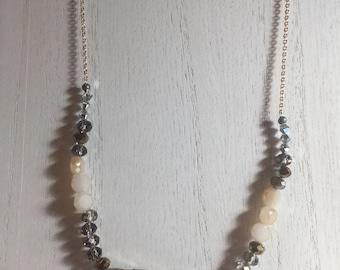 Gold Stone | Glass | Swarovski Crysta Beaded Chain Necklace