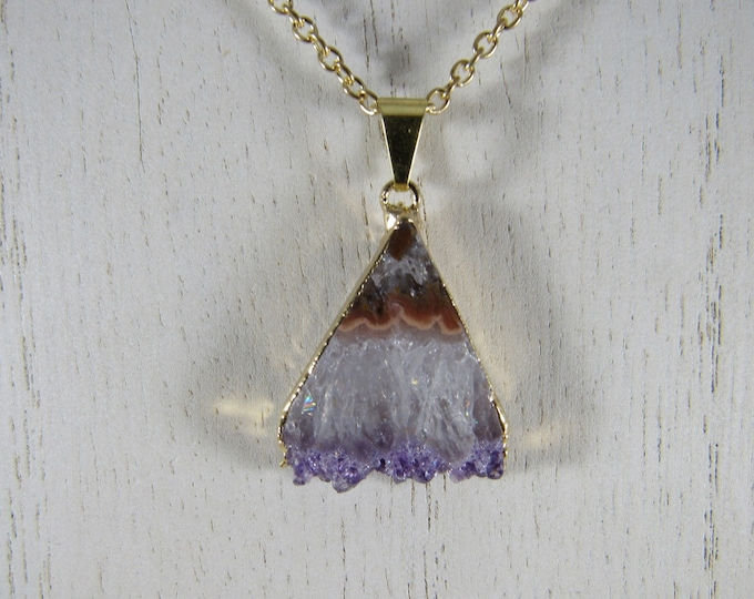 Amethyst Stalacitite Triangle Slice Pendant Chain Necklace
