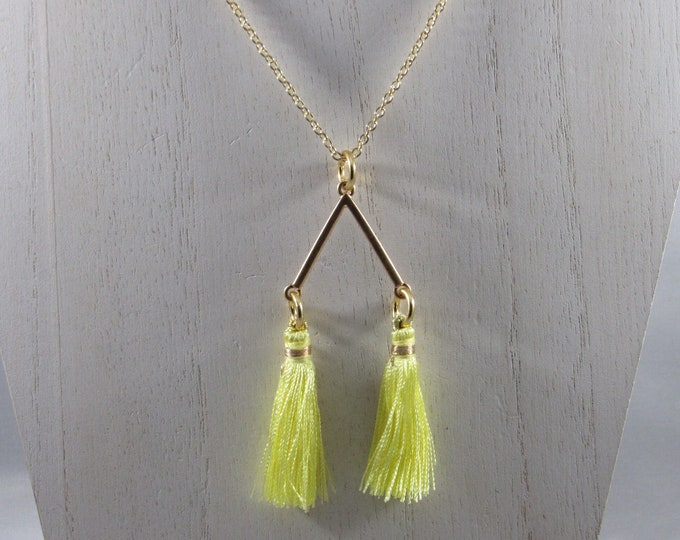 Triangle Gold Plated Charm with Yellow Tassels Necklace