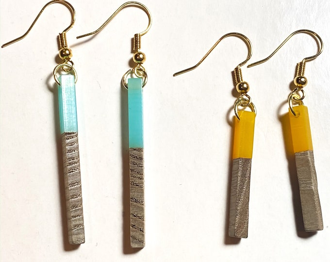 Wood and Resin Earrings Stick and Oval| Bold Primary Colors