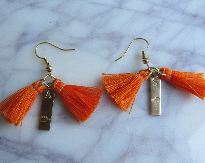 Hand Stamped Initial and Arrow Tassel Earrings