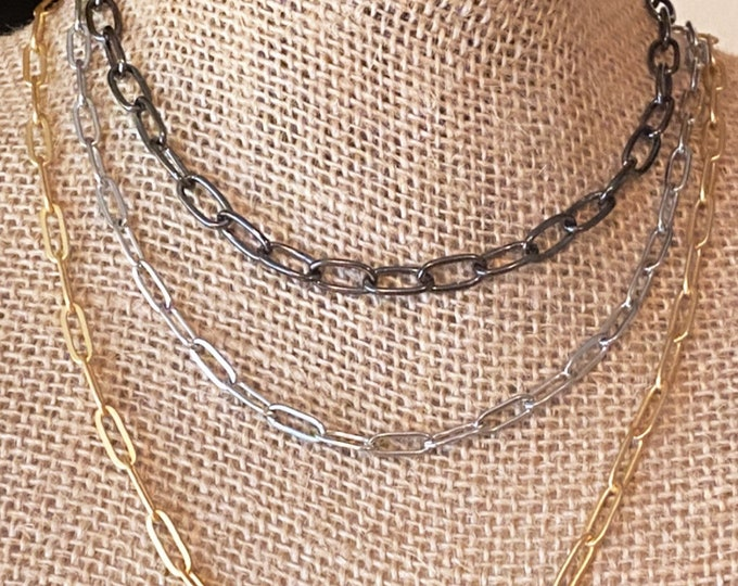 Paper Clip Chain Necklace   Gold   Stainless Steel   Gunmetal