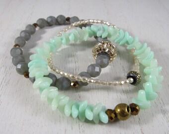 Grey and Mint Beaded Bracelets Set of 3