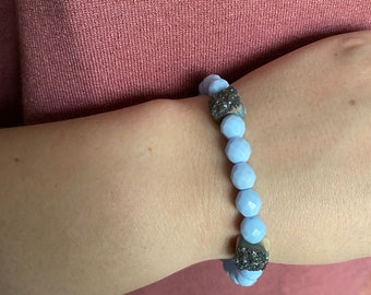Light Blue| Pale Blue Faceted and Rainbow Druzy Stone Beaded Bracelet| Layer | Stack | Single