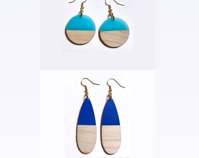 Wood and Resin Long Teardrop and Large Circle Earrings