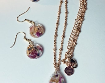 Custom Set: 14k Gold Plated Resin Necklace and Earring Set