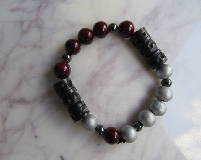 Scarlet and Grey Wood Beaded Men's Bracelet