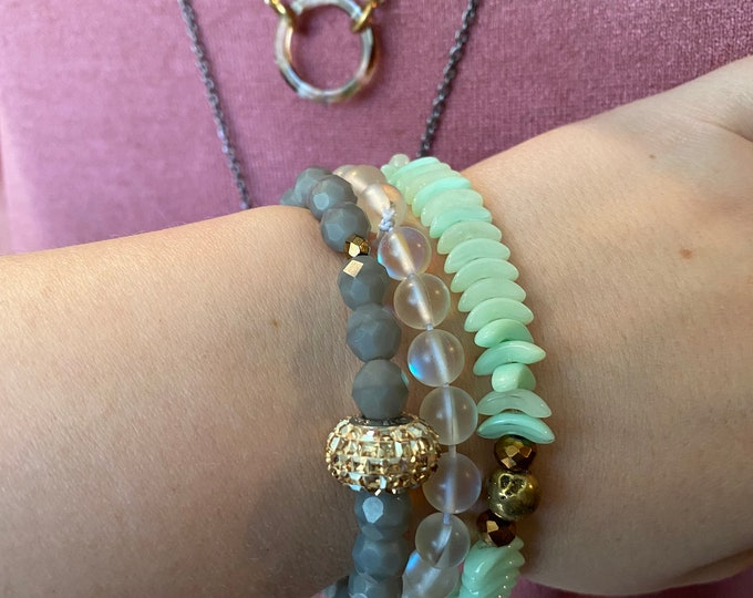 Mint, Moonstone, Grey Fire Polished and Druzy Beaded Bracelets| Layer | Stack | Single