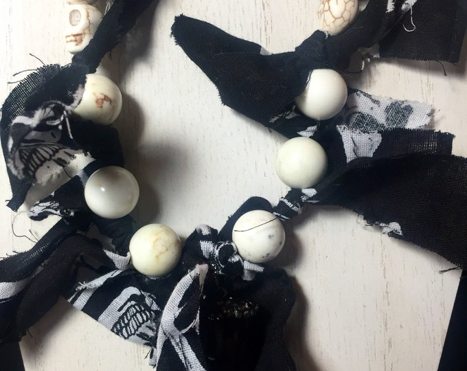 Skeleton Bandana Knotted Cloth with Skull, Lava and Shell Beaded Necklace