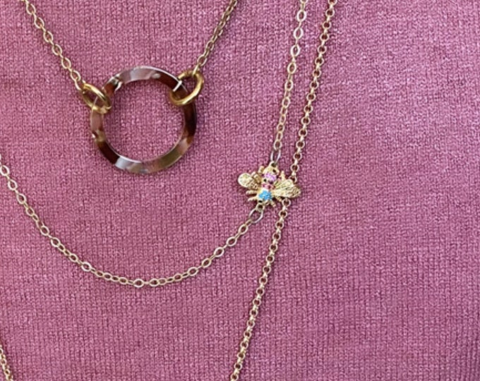 Mini Gold Bee and Crystal Charm Necklace