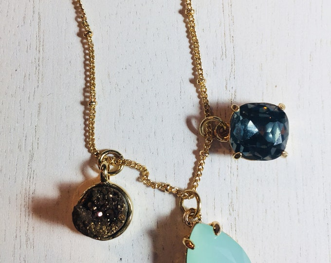 Gold Drusy | Blue Jean Square & Turquoise Tear Drop Charm Necklace