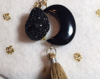 Black Crescent Moon with Black Druzy and Tan Tassel on Chain Necklace