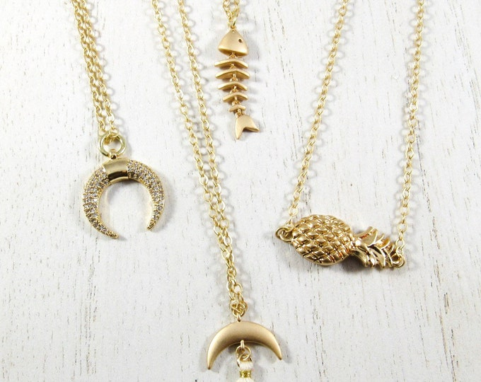 Gold or Silver Charm Necklace| Gold or Silver Pineapple| Gold Fish Bone| Gold Crecent Moon with White Tassel | or Gold Pavè Stone Crecent