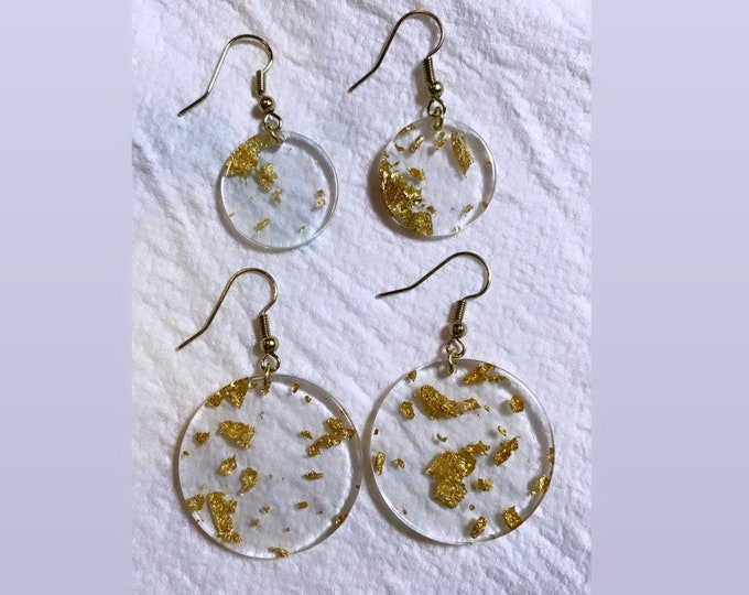 Gold Leaf Earrings  Small and Large Coin   Gold Earrings