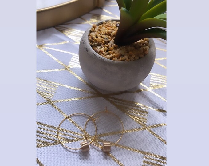Gold Plated Hoops with Gold Mykonos Bead