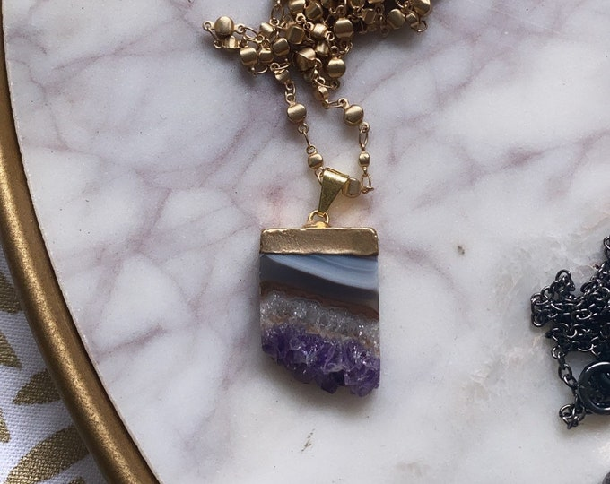 Amethyst Slice Pendant Ball and Chain Necklace