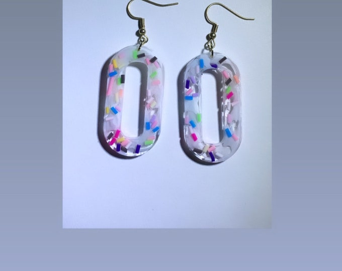 Rainbow Confetti and White Resin Dangle Earrings