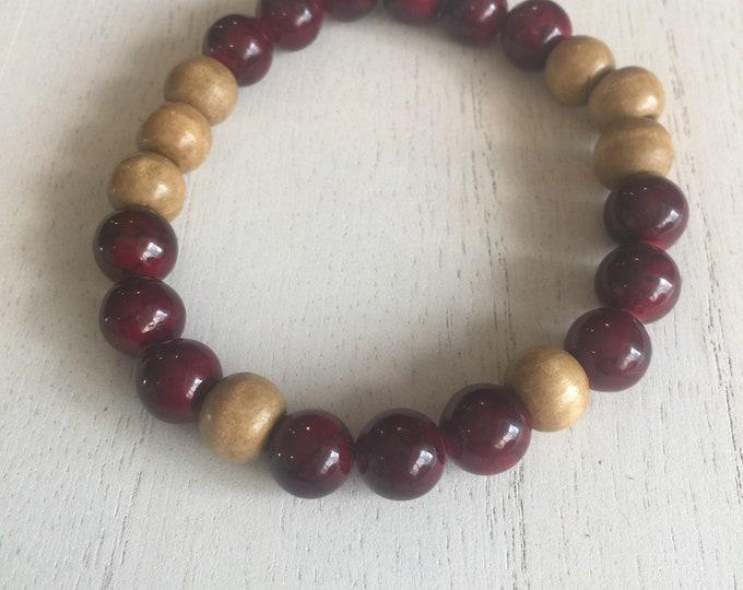 Dyed Quartzite and Wood Bracelet