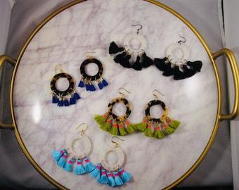 Large Acetate Hoop and Tassel Earrings