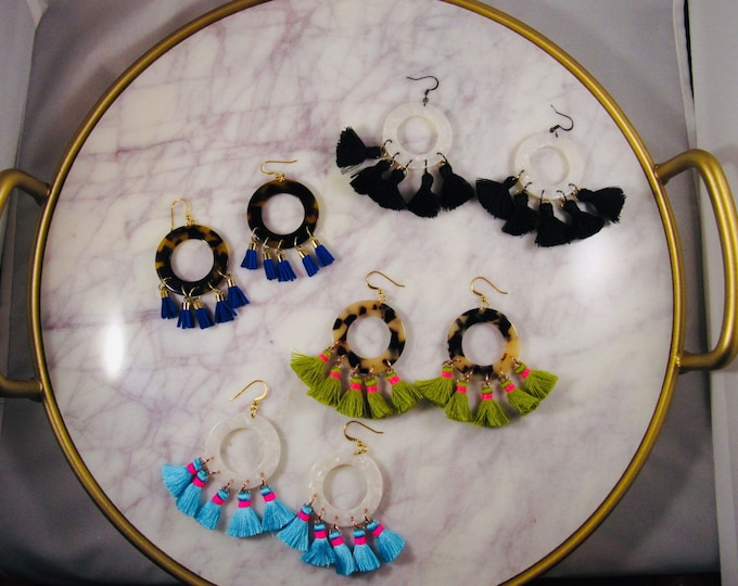 Large Acetate Hoop and Tassel Earrings