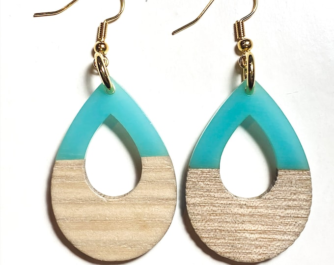 Wood and Resin Open Teardrop Earrings