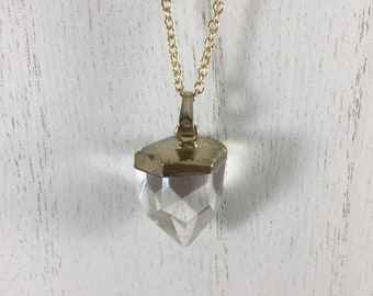 Rock Crystal Drop Pendant with Gold Finish