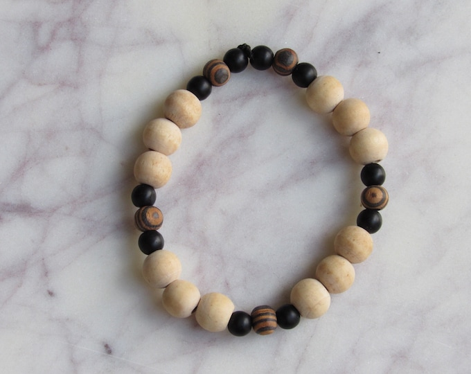 Light Brown and Black Round Wood and Geometric Black Wood Beaded Men's Bracelet