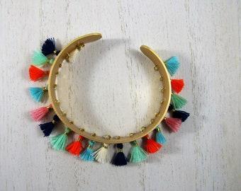 Satin Gold Finish Colorful Tassel Cuff Bracelet