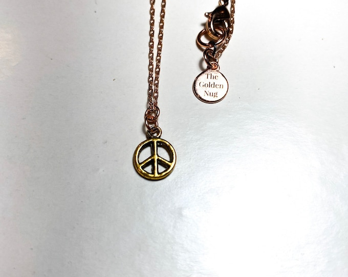 Gold Peace Sign Necklace with Rose Gold or Gold Chain