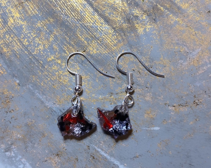 Ohio Buckeye Glitter | Silver Leaf | Ear Hook Earrings
