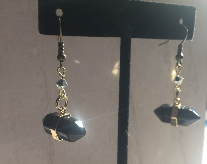 Black Onyx with Silver Swarovski Crystal Drop Earrings