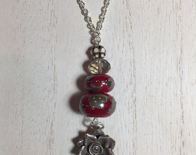 Sterling Silver Flower Pendant with Antique Swarovski and Handmade Glass Beaded Necklace