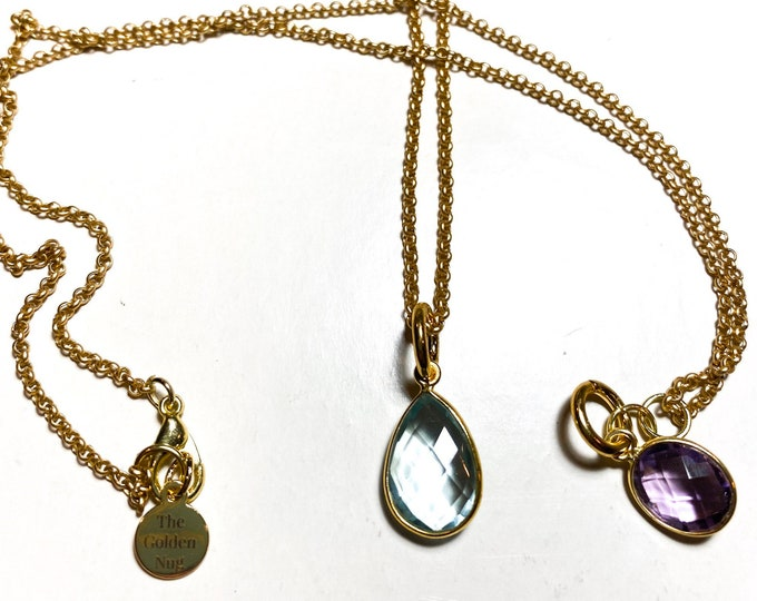 Amethyst Oval | Turquoise Teardrop| Faceted Charm Necklace in Gold Vermeil