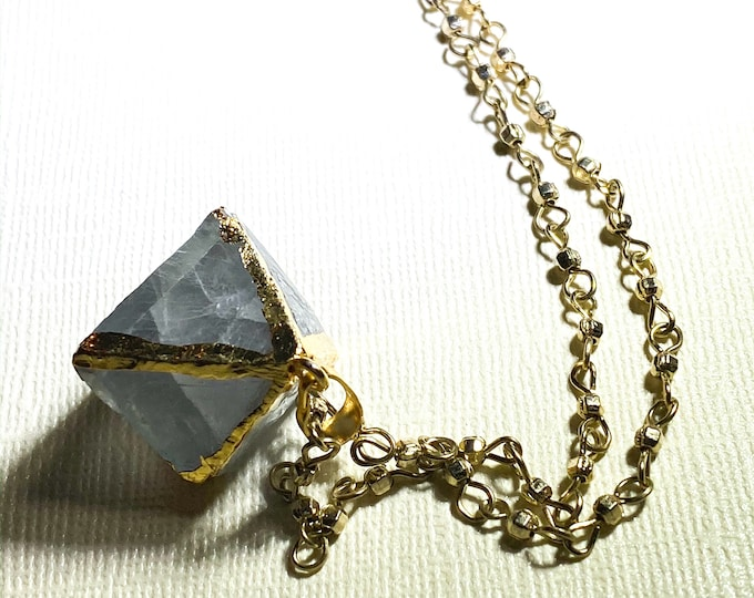 Gray Green Fluorite Octahedron| Gold Plated 14k Necklaces