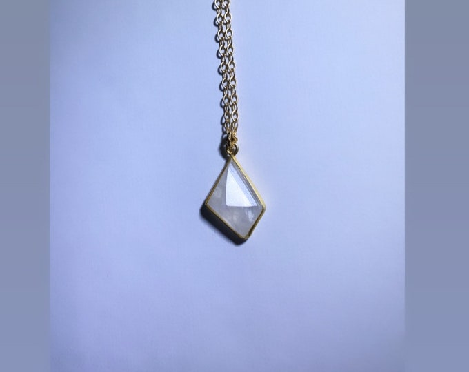 Asymmetric Moonstone Quartz Gold Plated Charm Necklace