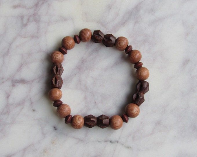 Brown Carved Wood, Dark Red Sphere and Round  Brown Wood Beaded Men's Bracelet