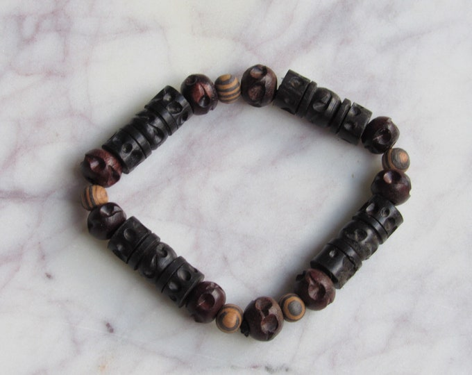 Brown and Black Carved Wood and Geometric Black Wood Beaded Men's Bracelet