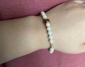 Swarovski Opalescent Pearl and Rose Gold Mykonos Beaded Bracelet| Layer | Stack | Single