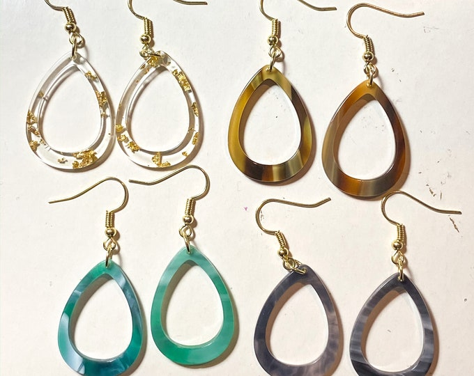 Acetate Open Teardrop Earrings