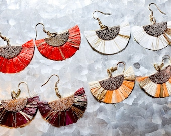Fringed Fan Raffia Earrings with metallic Gold, Red, White, Purple and Orange