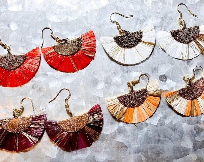 Fringed Fan Raffia Earrings with metallic Gold, Red, White, Purple and Orange