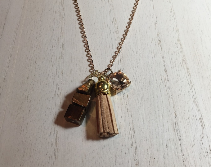 Gold Nugget | Tan Tassel | and Square Tan Crystal Charms on Rose Gold Chain Necklace