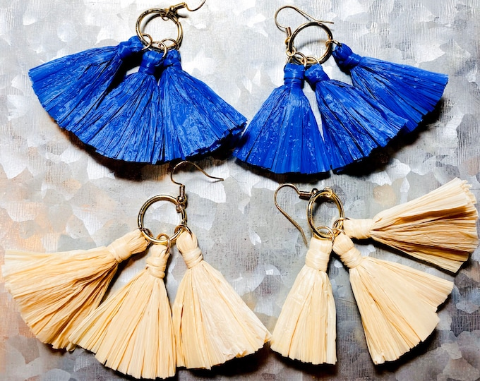 Natural and Cobalt Blue Tassel Large Statement Earrings
