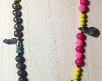 Pink, Yellow, and Blue Glass And Clay Beads with Electo Plated Agate Necklace