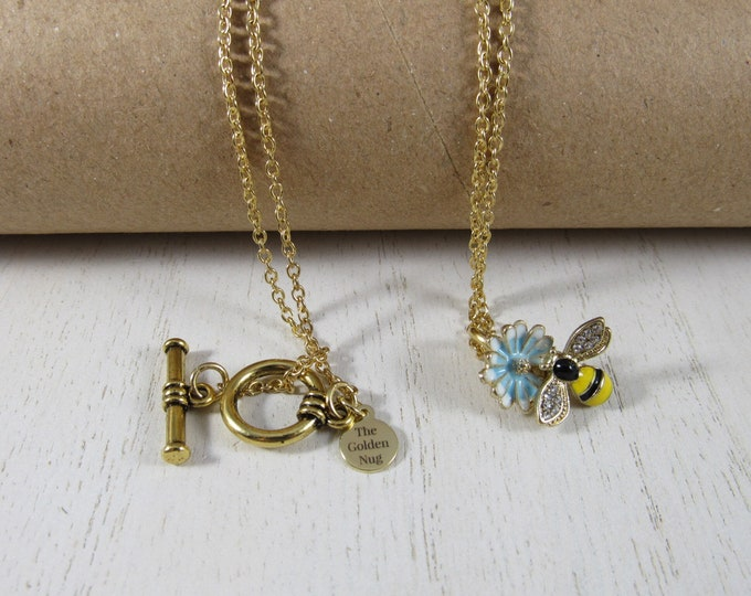 Bee & Flower Charm Necklace