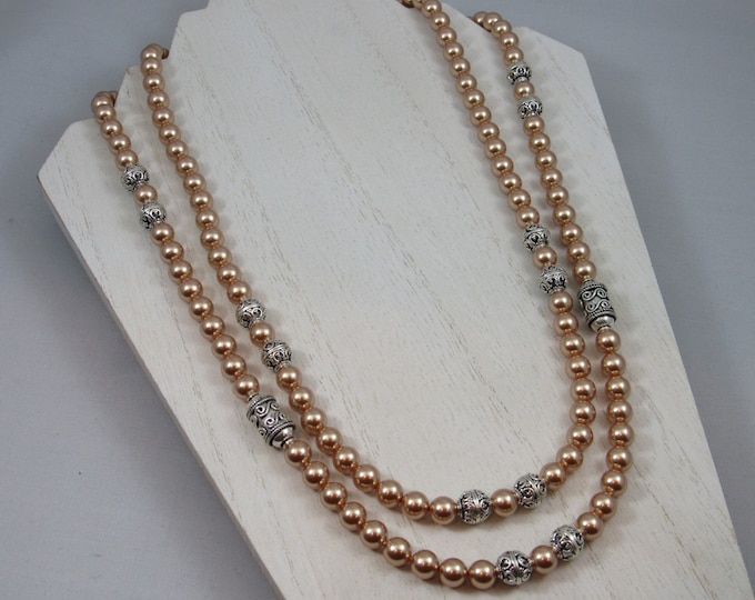 Swarovski Rose Gold Pearls & Sterling Silver Beaded Necklace